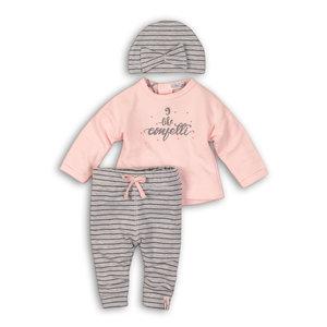DIRKJE BABYKLEDING meisjes 2 delige set met muts light pink + grey melee stripe so soft confetti