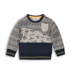 DIRKJE BABYKLEDING jongens trui navy + stripe + grey melee so bright go get them tiger