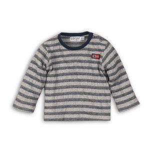 DIRKJE BABYKLEDING jongens longsleeve stripe grey melee + navy stripe so fresh always be yourself