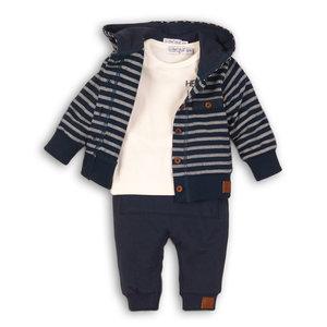 DIRKJE BABYKLEDING jongens 3 delige set navy/off white + off white + navy so fresh hello little boy