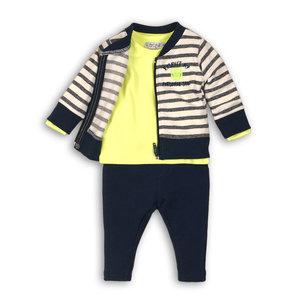 DIRKJE BABYKLEDING jongens 3 delige set off white stripe + neon yellow + navy so soft respect my personal space