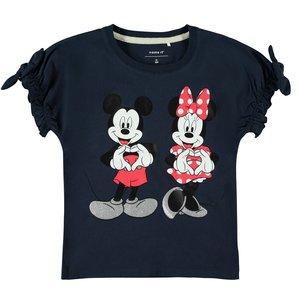 NAME IT meisjes t-shirt dark sapphire mickey en minnie mouse
