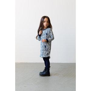 LEVV meisjes jurk blue iris leopard
