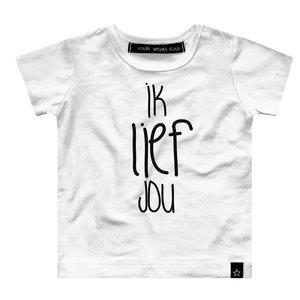 YOUR WISHES meisjes t-shirt ik lief jou white nos