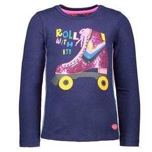 Kidz Art meisjes longsleeve dark blue skate