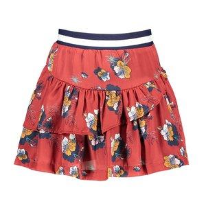 Nono meisjes rok warm red navi flowers reversible