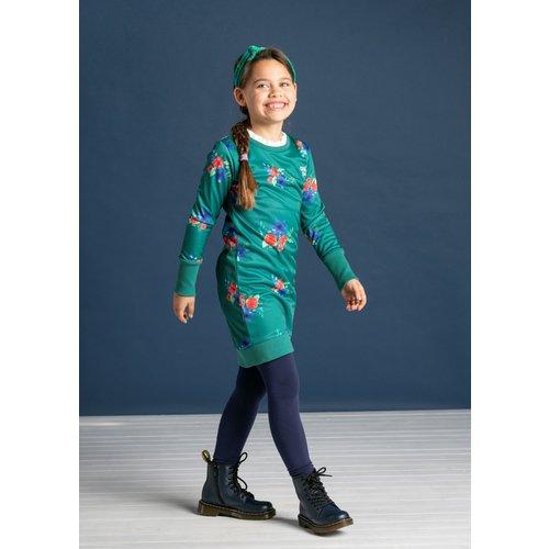 Quapi Quapi meisjes jurk forest green flower taleen