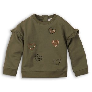 DIRKJE BABYKLEDING meisjes trui army green girl power
