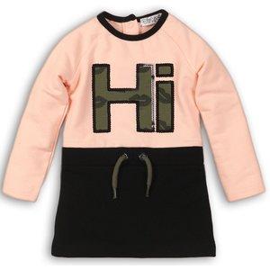 DIRKJE BABYKLEDING meisjes jurk light pink + black girl power