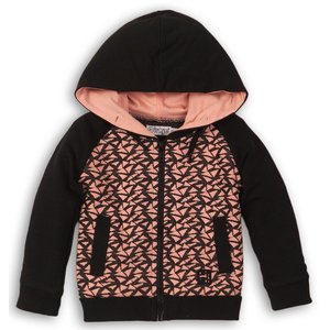 DIRKJE BABYKLEDING meisjes vest black + grey melee + light pink girl power