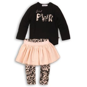 DIRKJE BABYKLEDING meisjes 3 delige set black + light pink + aop girl power