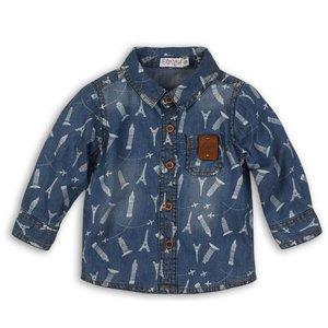 DIRKJE BABYKLEDING jongens blouse jeans + aop travel
