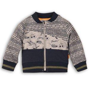 DIRKJE BABYKLEDING jongens vest navy + stripe + grey melee aop so bright go get them tiger