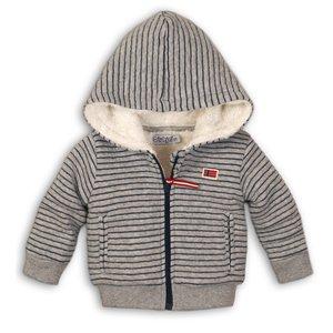 DIRKJE BABYKLEDING jongens vest stripe grey melee + navy stripe so fresh always be yourself