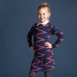 Quapi Quapi meisjes jurk navy zigzag stripe taila