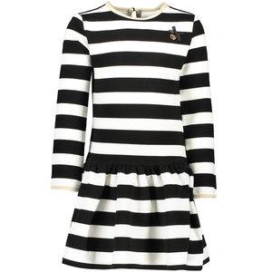 LE CHIC meisjes jurk black relief stripe