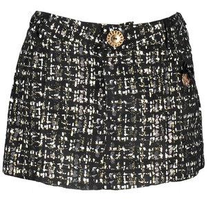LE CHIC meisjes rok grey iron glitter tweed