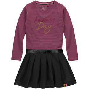 Quapi meisjes jurk pink dark grey stripe thalisya