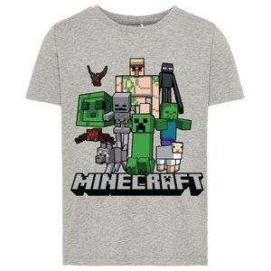 NAME IT jongens t-shirt minecraft grey melange