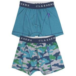 CLAESEN'S jongens 2-pack boxershorts army blue