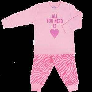 Frogs and Dogs meisjes pyjama parfait pink zebra