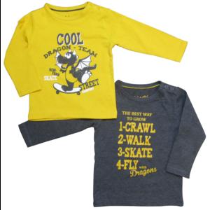 KNOT SO BAD jongens 2-pack longsleeve skate dragon yellow
