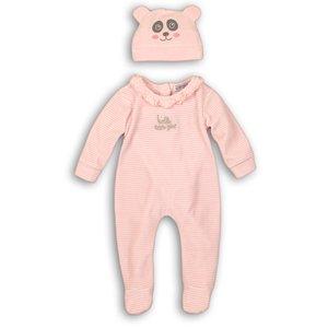 DIRKJE BABYKLEDING meisjes boxpak met muts light pink stripe + light pink so soft hello