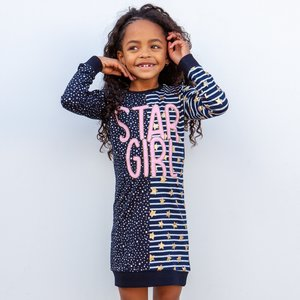 O'Chill meisjes jurk anthracite stripes/dots sanna