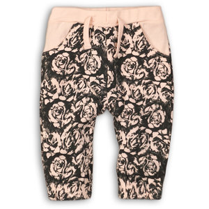 DIRKJE BABYKLEDING meisjes joggingbroek light pink + black aop girl power