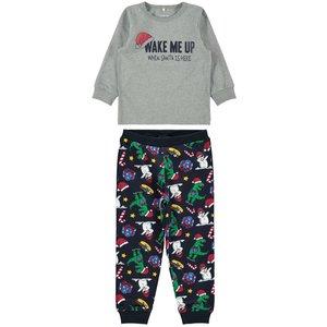 NAME IT jongens pyjamaset grey melange kerstmis
