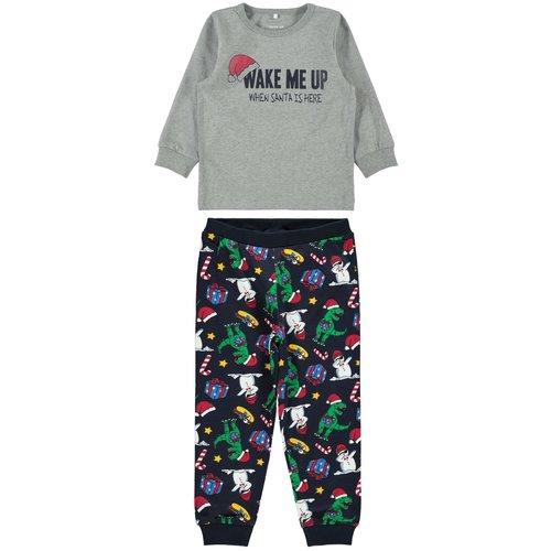 NAME IT NAME IT jongens pyjamaset grey melange kerstmis