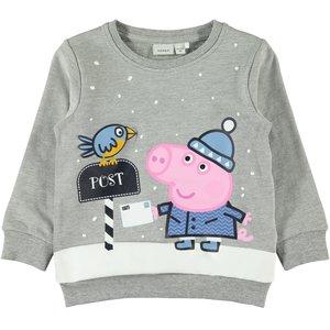 NAME IT jongens trui grey melange  peppa pig kerst
