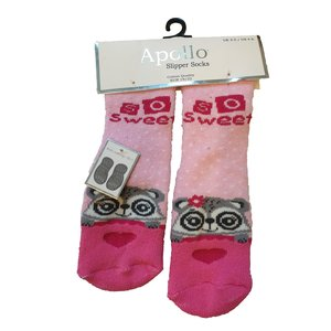 APOLLO anti-slipsokken sweet racoon roze