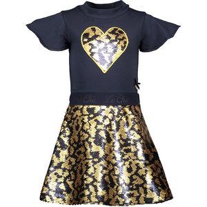 LE CHIC meisjes jurk spotty sequins blue navy