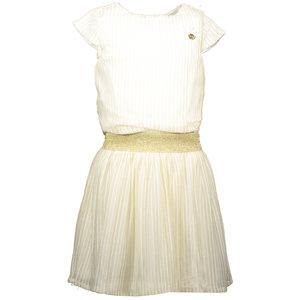 LE CHIC meisjes jurk vertical golden stripe off white