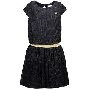LE CHIC LE CHIC meisjes jurk vertical golden stripe blue navy