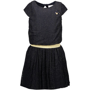 LE CHIC meisjes jurk vertical golden stripe blue navy