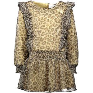LE CHIC meisjes jurk leopard pleated glitter fields of gold