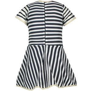 LE CHIC LE CHIC meisjes jurk 2 coloured relief stripe blue navy