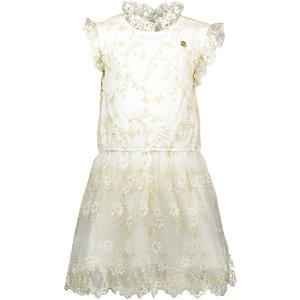 LE CHIC meisjes jurk embroided golden leaves off white