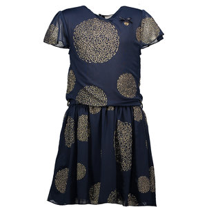 LE CHIC meisjes jurk puffy big dots blue navy