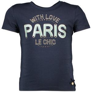 LE CHIC meisjes t-shirt blue navy with love paris