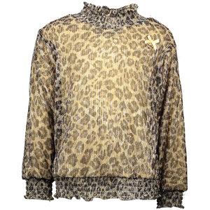 LE CHIC meisjes longsleeve leopard pleated glitter fields of gold