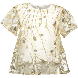 LE CHIC meisjes t-shirt embroidered leaves off white