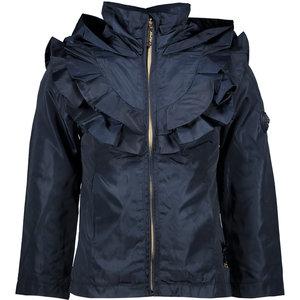 LE CHIC meisjes jas ruffle yoke plain blue navy