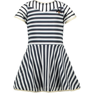 LE CHIC meisjes jurk 2 coloured relief stripe blue navy