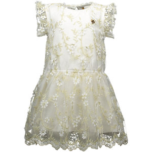 LE CHIC meisjes jurk embroidered golden leaves off white