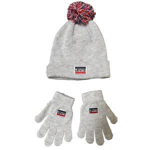 LEVI'S jongens muts en handschoenen light grey heather