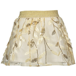 LE CHIC meisjes rok embroidered leaves off white
