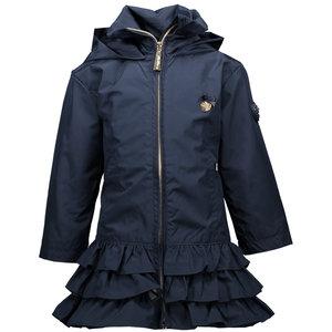 LE CHIC meisjes ruffle jas plain blue navy